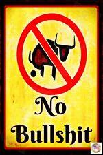 *NO BULLSHIT* METAL 8X12 FUNNY BAR WARNING STOP CRAP BAD BOSS OFFICE MAN CAVE
