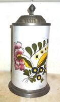 Fayence Style Flower Pewter lidded Masskrug German Beer Stein
