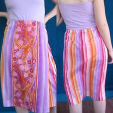 Vtg 70s Mod Hippie Floral Faux Wrap Skirt Pink Purple De Weese Nos Has Orig Tags
