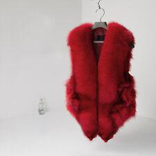Women Real Fox Fur Vest Big Collar Waistcoat Coat Jacket Valentine's Gift  2017