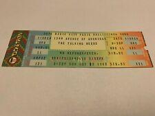 Rare Talking Head Unused Ticket 11/2/1980 Radio City Music Hall Nyc
