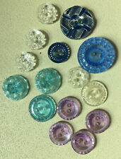Lot of 15 Nice Vintage Clear Plastic Buttons Clear, Blues, Lavender, Turquoise