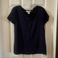 H&M L.O.G.G. Women's Navy Blue Short Sleeve Blouse size 6