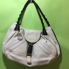 Ladies genuine leather designer style Spy Bag white satchel handbag