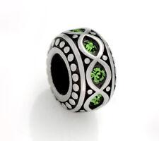 Stainless Steel Rondelle Spacer Beads w/ Green Rhinestones for European Bracelet