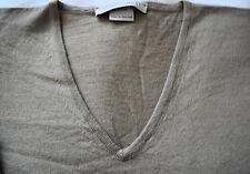 "John Smedley Fine Wool Knit V Necked Jumper in Beige~ size 42"" chest"