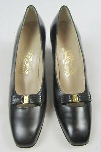 Womens Salvatore Ferragamo Black Leather Vara Bow High Heels Shoes Sz 7.5 AA