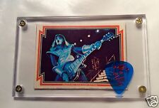 KISS Ace Frehley Donruss card #19 / official blue signature guitar pick display!