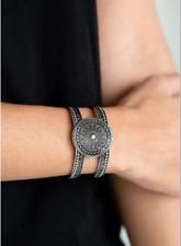 "Silver Cuff Bracelet New Paparazzi ""Texture Trade"""