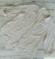 Croft & Barrow Size 1X Button Down Roll Tab 3/4 Sleeve Linen Shirt Beige Floral
