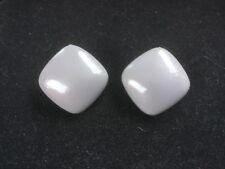 "Vintage Clip-On Earrings.  Light Gray Plastic.  1"" Square.  Box 3"