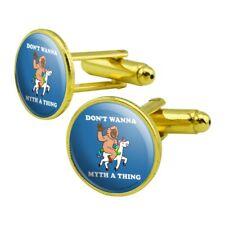 Don't Wanna Myth Thing Unicorn Bigfoot Round Cufflink Set Gold Color