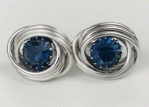 Vintage Swank Cuff Links with Blue Rhinestone Silver Tone Swirl Ovals