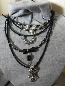 SKULL skeleton STAR NECKLACE pagan boho ethnic biker black beaded bib silver