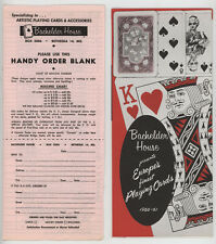 VTG 1960-61 BACHELDER HOUSE EUROPEAN PLAYING CARDS PAMPHLET CATALOG,ORDER FORM