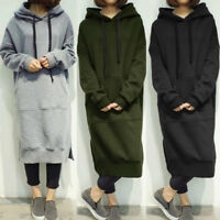 Women's Long Sleeve Loose Casual Plus Sweatshirt Hoodies Long Maxi Dress Fashion