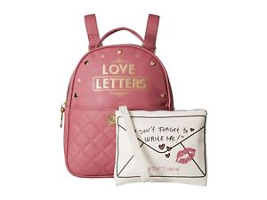 Betsey Johnson Kitsch Love Letters Small Pink Backpack & Pouch SEALED