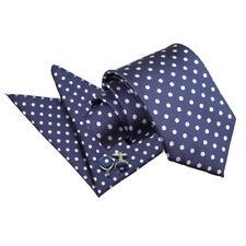 DQT Woven Polka Dot Navy Blue Formal Casual Mens Classic Tie