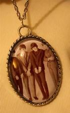 Handsome Roped Rim Black and White Photo Fab 4 Beatles Standing Pendant Necklace
