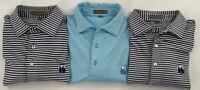 Peter Millar Summer Comfort Lot Of 3 Blue Striped Golf Polo Shirts Size Medium