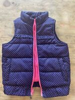 Toddler Girls, OshKosh Size 2t Puffy Vest, Blue With Pink Polka Dots, EUC