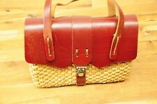 Vintage Brown Leather & Woven Natural Rattan Straw Hand Bag Purse Latched