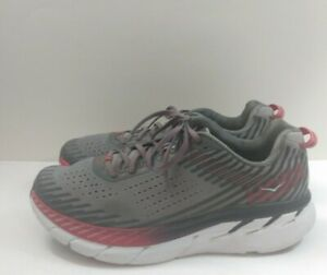 Hoka One One Clifton 5 Running Training Shoes US MEN'S SIZE 10 Gray Red White