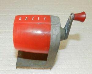 Vintage Red Dazey Pencil Sharpener hand crank manual wall mount or desk top