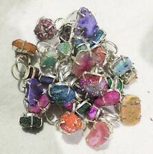 10 Pcs Silver Overlay Ring Wholesale Lot Duzy Agate Stones #1