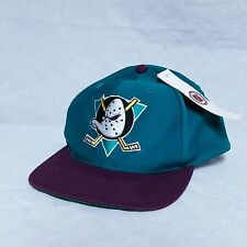 VTG Anaheim Mighty Ducks Snapback Hat Blockhead 90s Spell Out NWT Cap Script