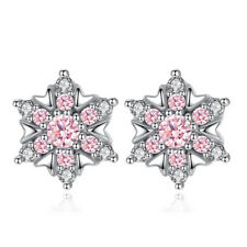 925 Sterling Silver Cubic Zirconia Pink CZ snowflake Stud Earrings