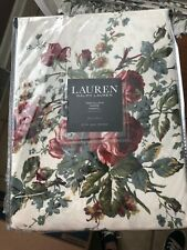 """NEW RALPH LAUREN FLORAL RED ROSES    70"""" ROUND  TABLECLOTH NEW"""