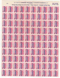 USA - Sheet of 100 1955 Easter Seals MNH