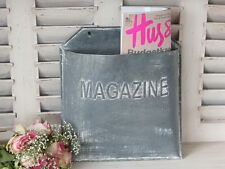 Rustic Zinc Wall Mounted Magazine Paper Rack, Vintage Industrial Chic Storage