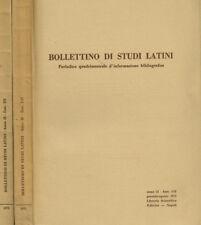 BOLLETTINO DI STUDI LATINI anno II. PERIODICO QUADRIMESTRALE D'INFORMAZIONE BIBL