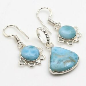 """NATURAL LARIMAR & 925 SILVER PLATED PENDANT EARRING SET 1.1/1.2"""", S-5923"""