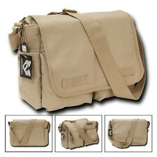 Khaki Army Military Messenger Heavyweight Field Canvas Shoulder Laptop Bag Bags