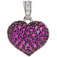 JOBO Anhänger Herz 925 Sterling Silber mit Zirkonia pink Herzanhänger Silberanhä