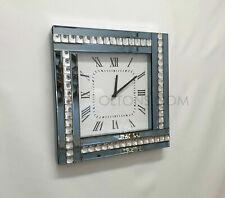 Modern Diamonte Crystal Mirrored Glass Square Wall Clock 45cm Smoked Grey Frame