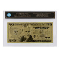 20 Dollar American Colorful 24k Gold Banknote 999.9 Gold Foil Bills with COA