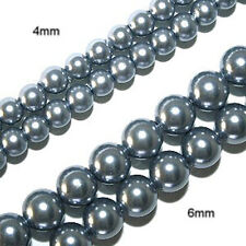 MAGNETIC PEARLIZED BEADS PEARLIZED SILVER BLUE 6MM ROUND BEAD STRAND P7