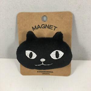 "Japanese Refrigerator Fridge ""Mochi-Mochi"" Magnet Furry Black Cat Made in Japan"