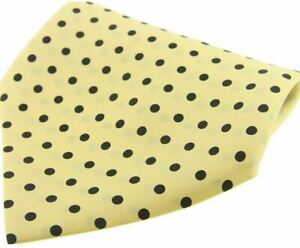 David Van Hagen Mens Polka Dot Silk Pocket Square - Yellow/Black