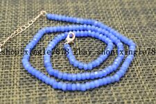 """Fine Beautiful 2x4mm Light Blue Sapphire Faceted Roundel Gems Beads Necklace 20"""""""