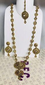 Antique gold kundan rani haar long necklace earring tikka set Indian Jewellery