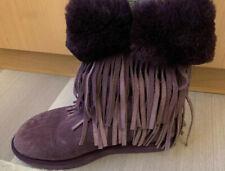 Koolaburra Fringe Purple Sheepskin Upper Real Fur Boot Sz 8
