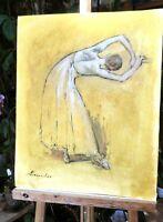 tableau huile /papier  - DANSEUSE- signé  SHEVCHUK Alexander