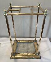 "Antique Vintage Brass Umbrella Cane Stand Open 22"" Tall Patina"