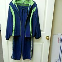 SJB ACTIVE Women Sz M Vtg Jogging Track Suit Athletic Jacket Pants Blue Green