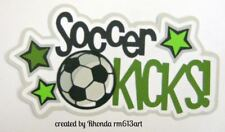 Soccer Kicks sport paper piecing title Premade Scrapbook Pages album by Rhonda